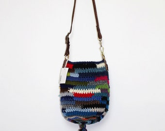 Handmade Boho Multicolor Crochet Tassel Bag-Color combo Blues
