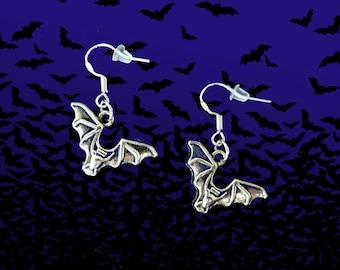 50% SALE Bat Earrings..Vampire Earrings..Bat Jewelry..Halloween Earrings..Halloween Jewelry..925 Sterling Silver Wire Earrings.FREE SHIPPING
