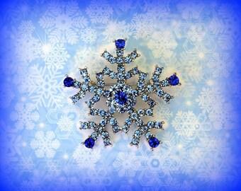 50% SALE Blue Snowflake Pin..Snowflake Brooch..Christmas Pin..Hanukkah Gift.Christmas Brooch.Snowflake Jewelry.Winter Jewelry.Frozen Jewelry