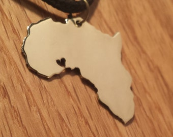 Africa Long Distance Relationship Pendant - Free Shipping - Hand-made Brass Charm - Long Distance Boyfriend or Girlfriend - Valentines Gift