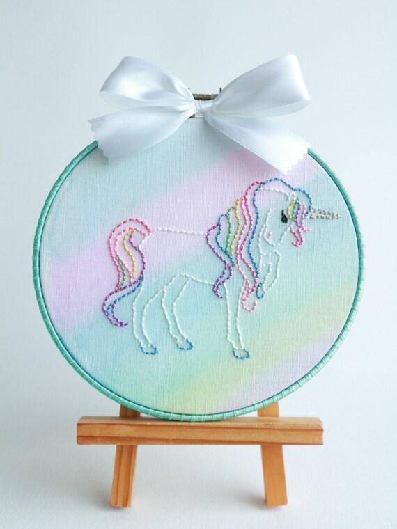 Unicorn on rainbow wall decor embroidery hoop hanger hand