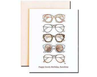 Woman Shades Birthday Card. Fashionable card. Print of my Original illustration with Ink and watercolor.