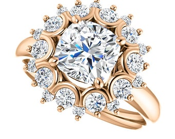 1.70ct Forever Brilliant Moissanite Engagement Ring - Cushion Cut Halo Engagement Ring - 14k Rose Gold - Genuine Diamonds