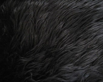"""Black Luxury Long Pile Faux Shaggy Fur Fabric - Sold By The Yard - 60"""""""