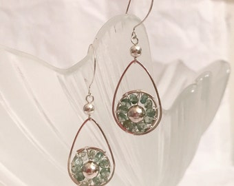 Tourmaline gemstone sterling silver dangling earrings handmade with sterling silver wire and sterling silver beads