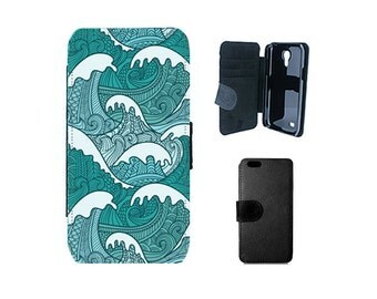 iPhone wallet case, iPhone 6, 6S, 7 Plus, SE, 5S, 5C 5, Samsung Galaxy S7, S6, Edge, S5, S4, Mini, Note 5, surf ocean waves phone cover. F58