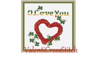 Love Cross Stitch Pattern,  heart, i love you, counted cross stitch, pattern, patterns