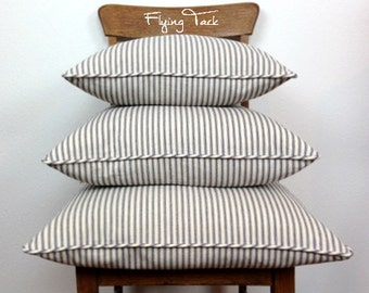 Blue and White Striped Ticking Pillow cover.