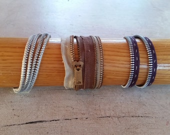 Upcycled Zipper Bracelets, Vintage Zipper Jewelry