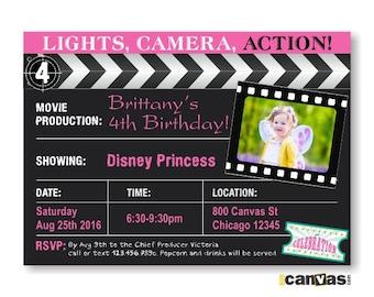 Movie Birthday Invitation. Movie Night Birthday Party Invite. Movie Clapboard Birthday invite. Movie Invitation, Movie Party Invites 210