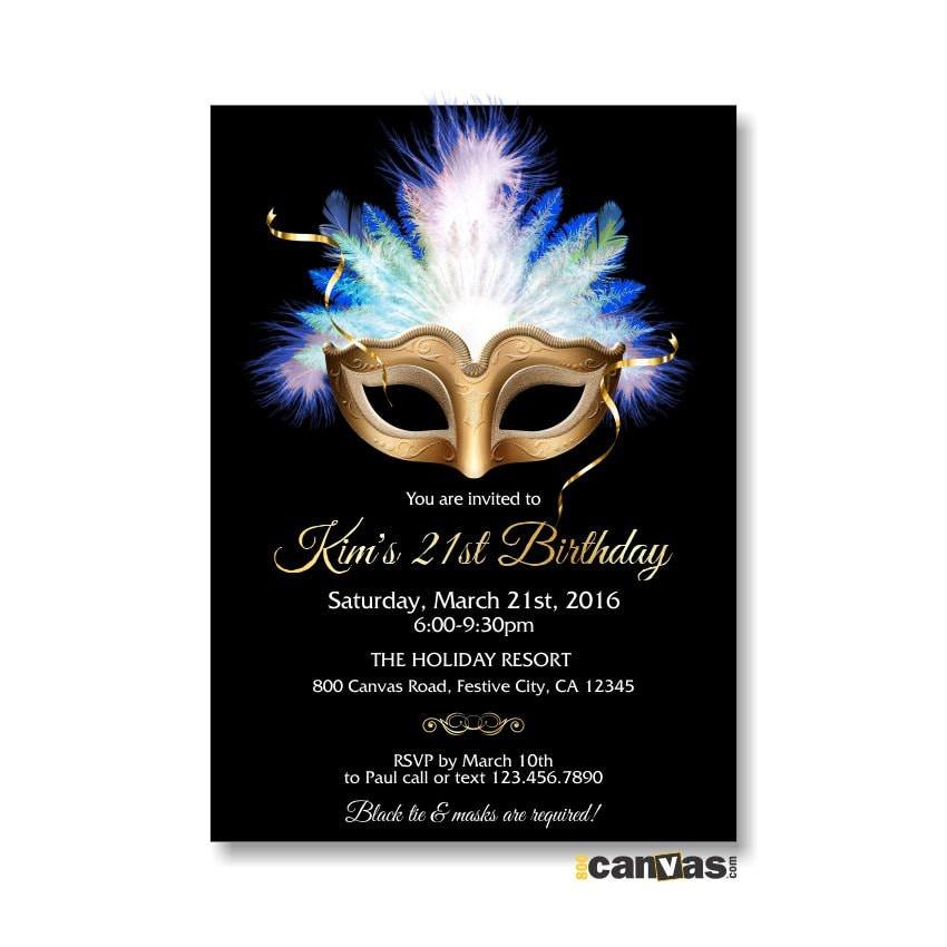 Masquerade invitation mardi gras mask masquerade ball for Masquerade birthday invitations
