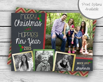 Double-Sided CHALKBOARD CHRISTMAS CARD, Merry Christmas Card, Happy New Year Card, Holiday, Printable Stationery, Digital