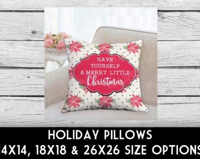 HOLIDAY Watercolor POINSETTIA Double-Sided Pillow, CHRISTMAS, Merry Christmas, Home Decor, Seasons, Decoratative Pillows, Pillows, Decor