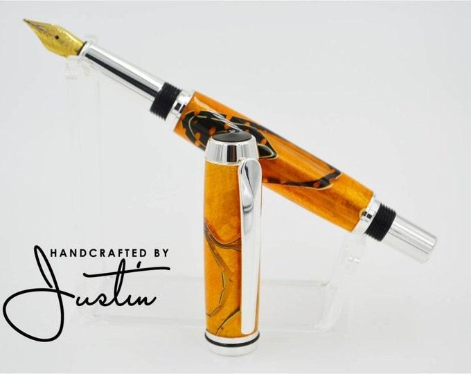 Featured listing image: Acrylic Fountain Pen - Orange and Black - Ink Pen - Acrylic Pen - Handmade Pen - Office Supplies - Cool Pen - Rollerball Pen - Elegant Pen