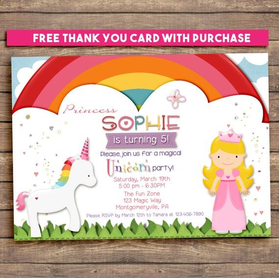 Magical Rainbow Unicorn and Princess Party Invitation, Printable, Birthday, 5x7. FREE THANK YOU Card!