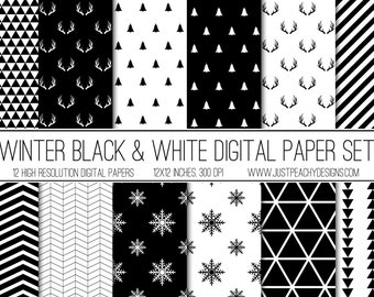 black and white christmas digital scrapbook paper with snowflakes and antlers