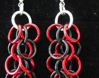 Red and Black Shaggy Weave Chainmail Earrings