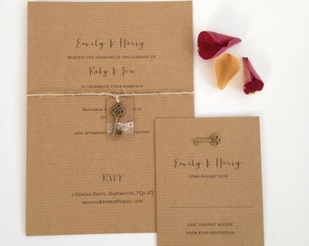 Lace Tag Wedding Invitation, Rustic Wedding Invite, Vintage Key Invitation, Kraft Wedding Invitation SAMPLE