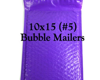 20 Purple Poly Bubble Mailers/Size:10x15 (#5)/Packing Supplies/Peel and Seal