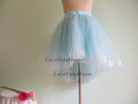 light blue hi low tulle skirt horsehair tulle