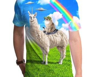 Cat Rides Llamacorn (GT7547-285SUB) Men's Shirt. llamas, cats, spaceships, rainbows, unicorns, funny men's tees.