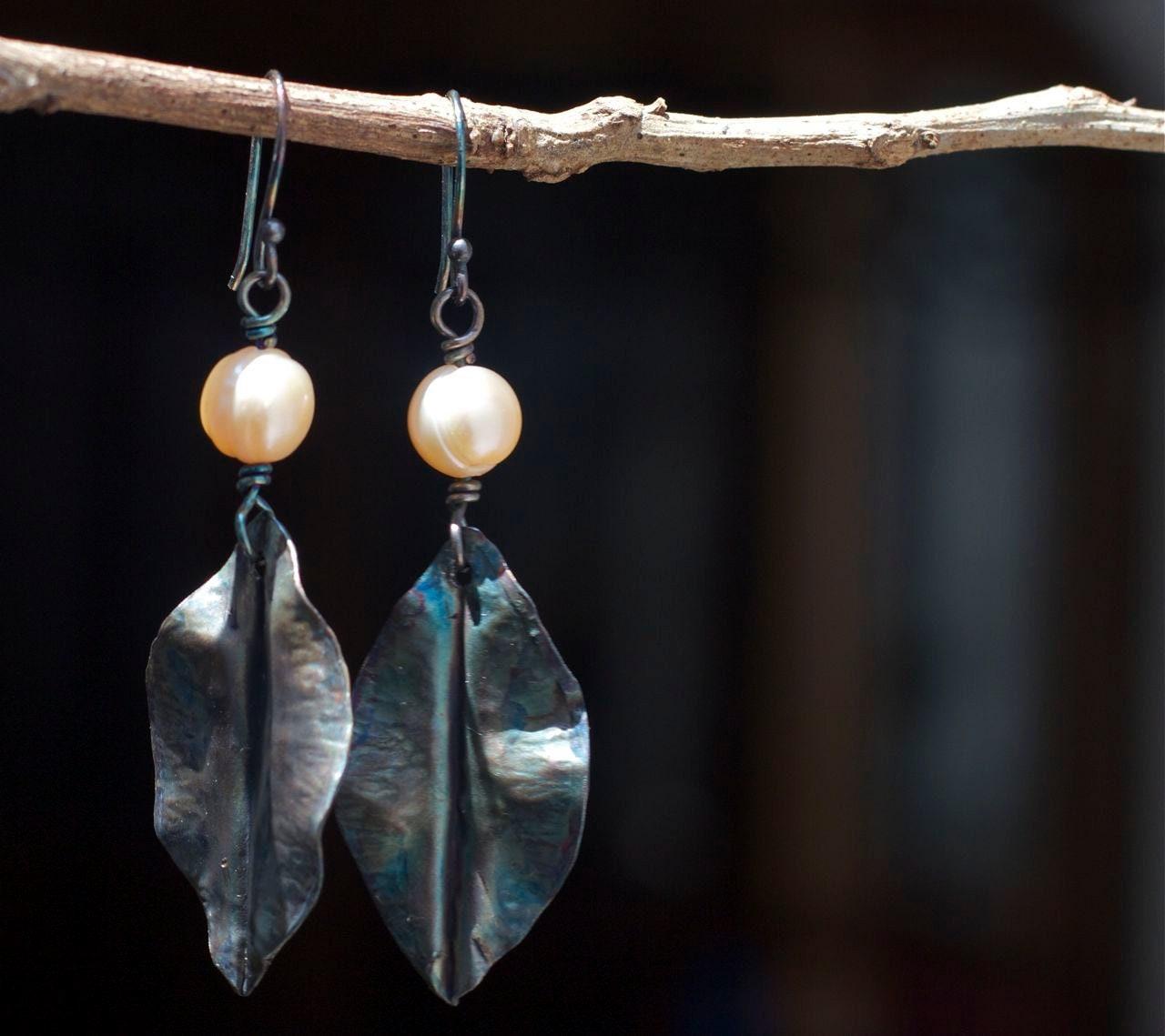 Artisan Earrings : Artisan earrings rustic leaf
