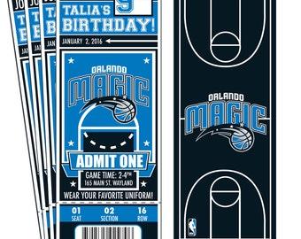 12 Orlando Magic Custom Birthday Party Ticket Invitations - Officially Licensed by NBA