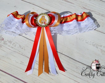 She Ra Wedding Garter - Custom Garter - Traditional Garter - Bridal Garter - Satin Garter - Lace Garter - Novelty Garter