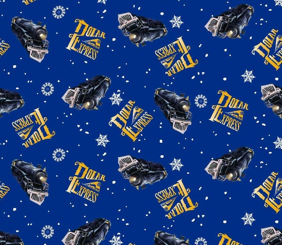 Polar express fabric train toss christmas by for Train fabric by the yard