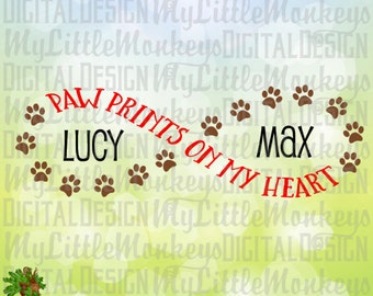 Paw Print SVG ~ Paw Prints on My Heart ~ Paw Infinity ~ Dog SVG ~ Dog Memorial Svg ~ Commercial Use SVG ~ Clip Art ~ Cut File eps dxf png