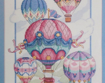 Balloon Fantasy Counted Cross Stitch Kit – Colourful Hot Air Balloons Cross Stitch