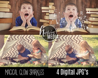 4 Glowing Rays of Sparkle Light - Photoshop Overlays to add to a Book or Hand for a Magical Fairy Children's Portrait Photo Effect