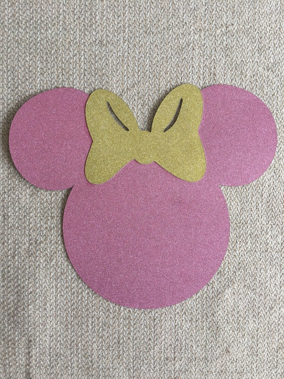 5 inch PINK glitter Minnie Mouse head with GOLD glitter bow