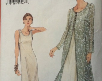 Elegant Very Easy Dress and Sheer Overdress Pattern Vogue 9990