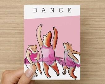 Dancing Bears, Greeting Card, Birthday, Illustration