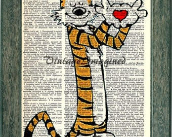 Hobbes with heart (Calvin and Hobbes)  on 8x10 upcycled vintage dictionary page