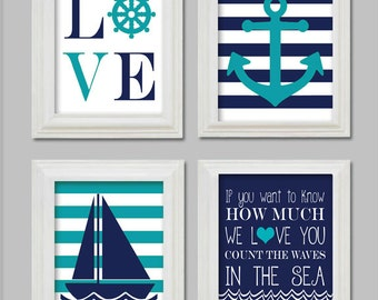 Digital files 11x14 Nautical Nursery Art Prints, Little boy nursery, Anchor and sailboat, Count the waves in the sea