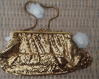Original Vintage 1960's Gold Colour Mesh Handbag