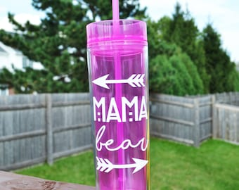 Mama Bear Tumbler // 16oz Skinny Tumbler // New Mom Gift // Baby Shower Gift for Mom // Gift for Her // Mom Cup // CUSTOM COLORS AVAILABLE