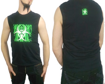 Bio Circuit T-shirt - Biohazard - Circuitry - Sleeveless - Tank - Black - S M L XL 2XL - UV Reactive - Fluorescent Green - Glow in the Dark