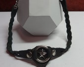 Handmade leather star choker, leather choker, braided leather choker with metal ring and star center, unisex leather choker, star choker