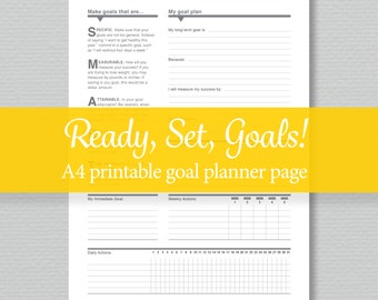 A4 Goal Planner - Printable PDF - by SassyPlanners