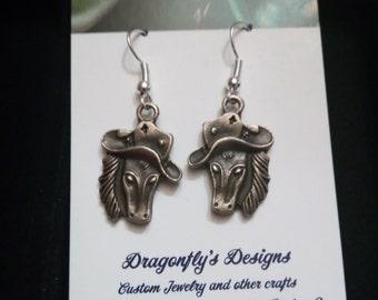 Cowboy horse earrings