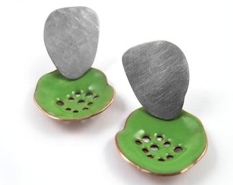 Earrings enameled copper green olive-topped silver