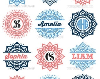 Mandala Pack Monogram and Split SVG Cut Files for Electronic Vinyl Cutter - Cricut Design Space, Silhouette - svg, eps, dxf, png, studio3