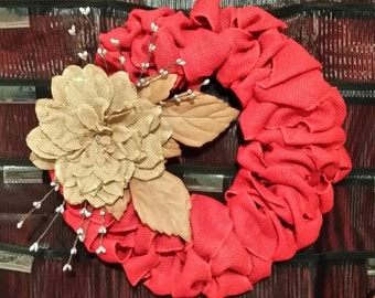 Burlap Wreath with Family Initial or coordinating Burlap flower