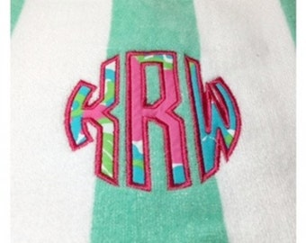 Monogram Towel Lilly Pulitizer Monogram Towel, Spring Break  Towel, Graduation Gift, Birthday Gift, Bridesmaid Gift, Beach Vacation