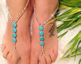 Wedding /  Beach Barefoot Sandals  ~  Turquoise and  Crystal Elements