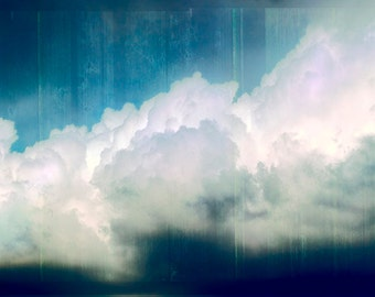 Original Art - Clouds - Blue, Large-Huge, Digital Transfer, Acrylic Paint, Mixed Media - Ready-to-hang