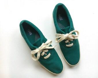 Vintage Keds Sneakers - Green Linen Keds - Womens Keds - Size 8.5
